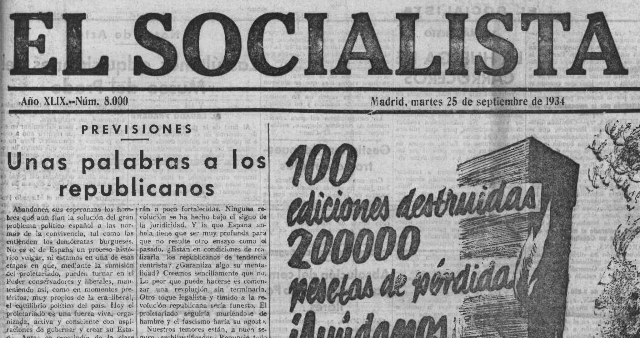 El socialista 25 de Septiembre de 1934